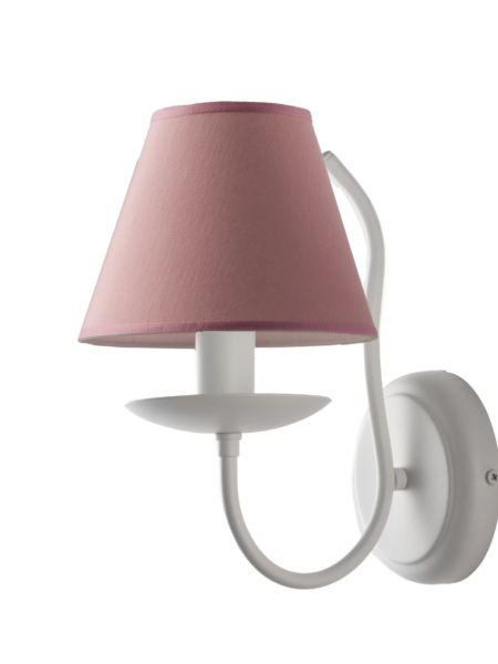 Applique Shabby Provenzale Minimal Bianco Paralume PVC Rosa