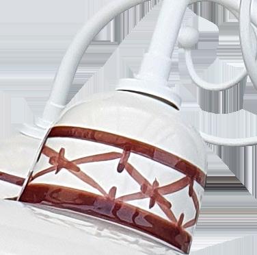 Lampadario 3 Luci Ceramica Bianco Intreccio Marrone