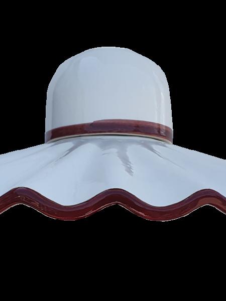 Lampadario Bilanciere Shabby Bianco Ceramica Marrone