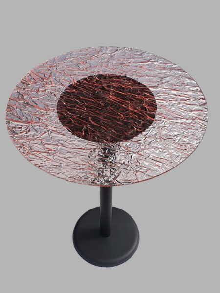 Tavolo Rotondo in Plexiglass Effetto Ghiaccio Rosa