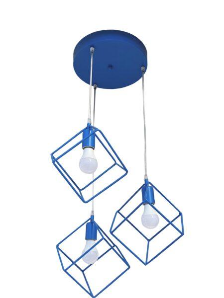Lampadario Plafoniera Cubi Azzurro