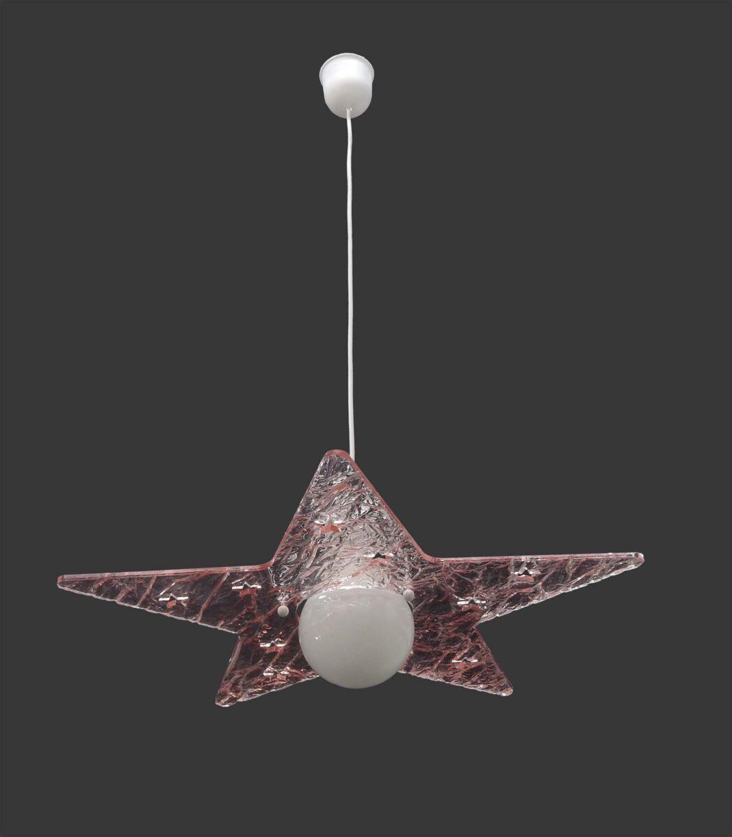 Lampadario sospensione stella plexiglass ghiaccio rosa for Lampadario led leroy merlin
