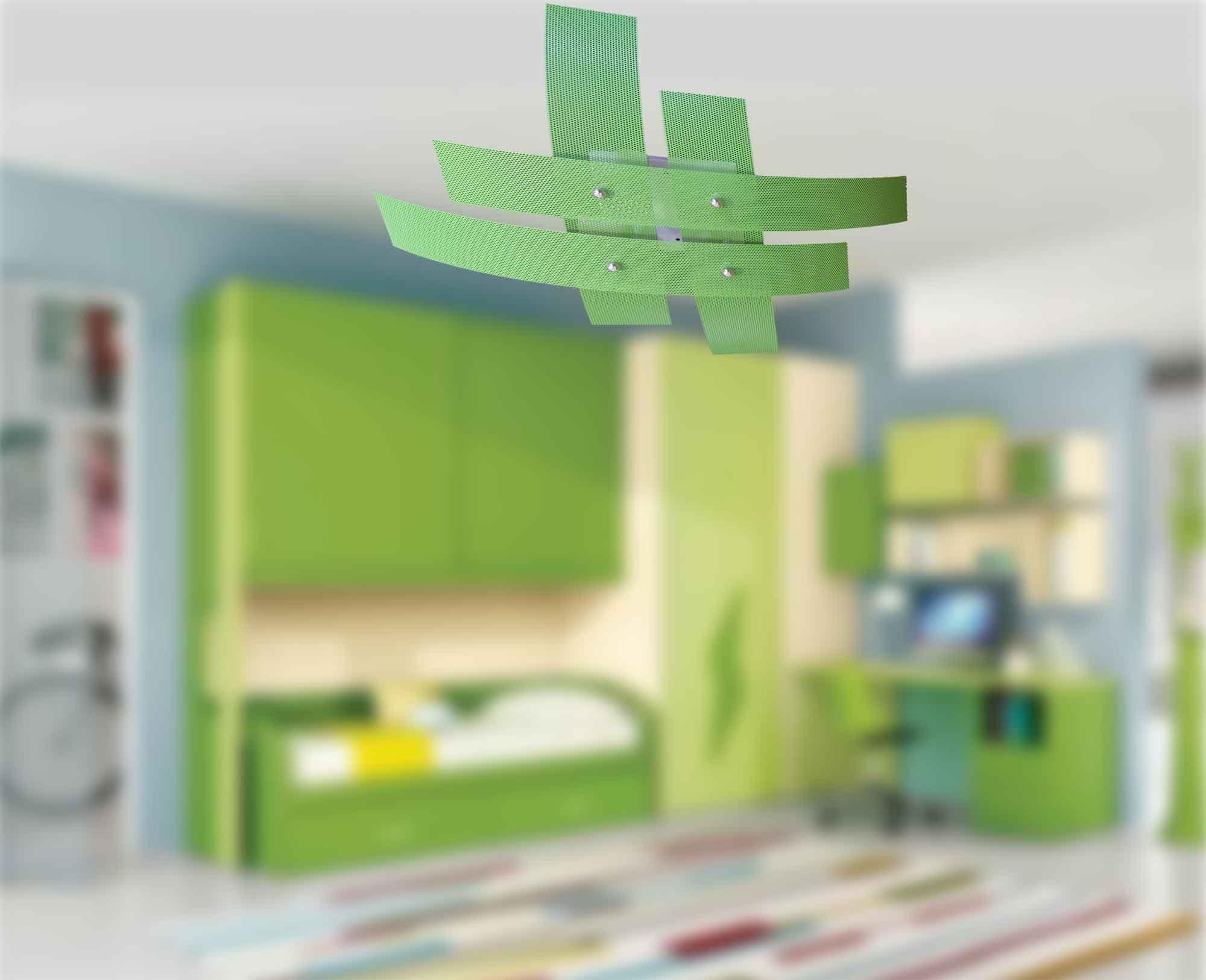 Plafoniere Per Camerette : Plafoniera 4 luci moderna metallo verde la luce del futuro