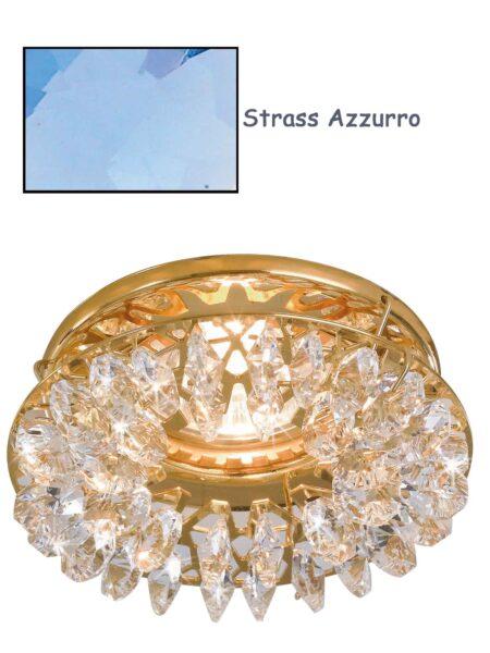 Faretto Incasso Oro Lucido Strass Swarovski Azzurro