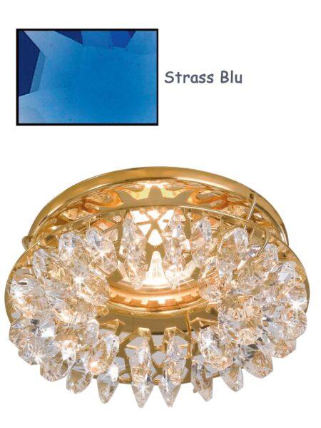Faretto Incasso Oro Lucido Strass Swarovski Blu