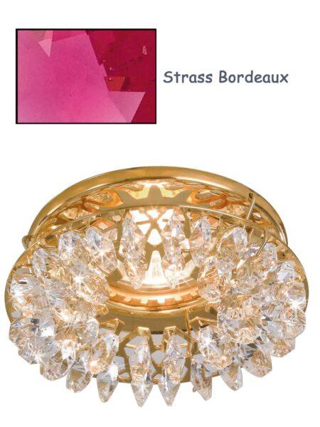 Faretto Incasso Oro Lucido Strass Swarovski Bordeaux