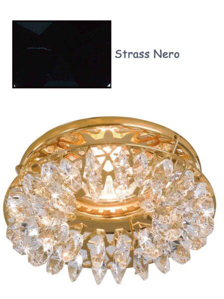 Faretto Incasso Oro Lucido Strass Swarovski Nero