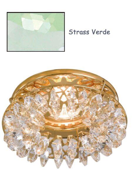 Faretto Incasso Oro Lucido Strass Swarovski Verde