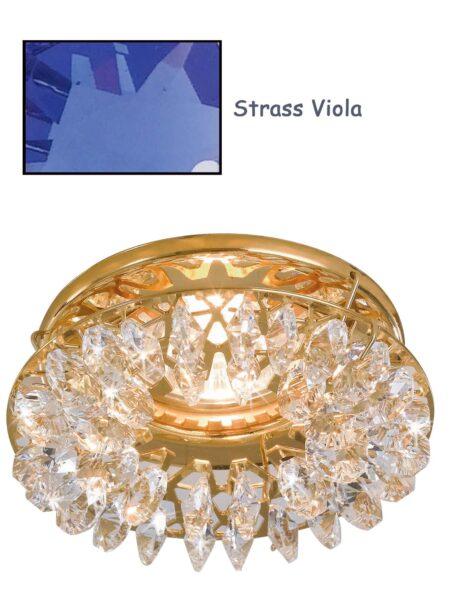 Faretto Incasso Oro Lucido Strass Swarovski Viola