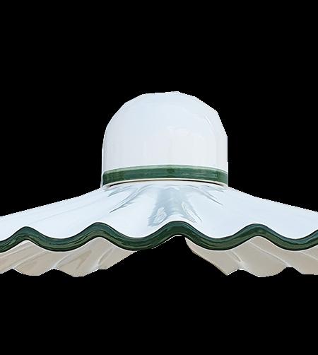 Lampadario Bilanciere Shabby Bianco Ceramica Verde